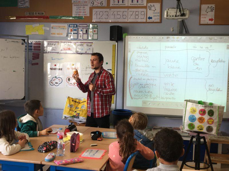 Mathieu en animation scolaire à Fontenay-le-Fleury